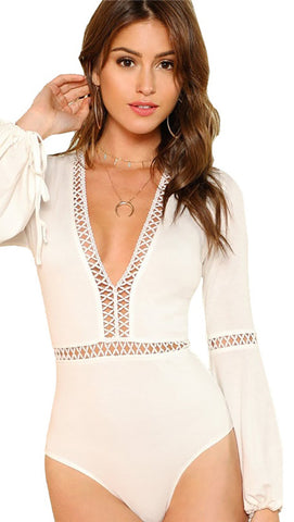 Trumpet Sleeve Deep V Bodysuit Natural Crochet Tie Wrist Thorn Guarden