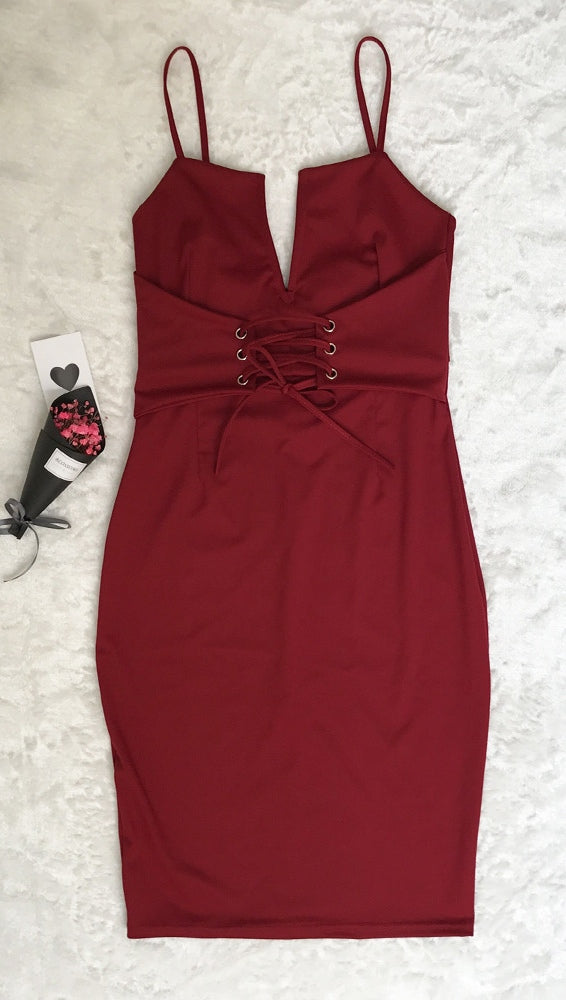 Burgundy Red Deep V Lace Up Corset Belt Midi Boydcon Bandage Dress