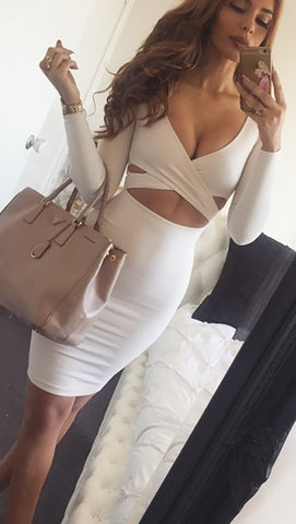 The Nadia Long Sleeve Cut Out Midi Dress White - Pencil Skirt - V Neck
