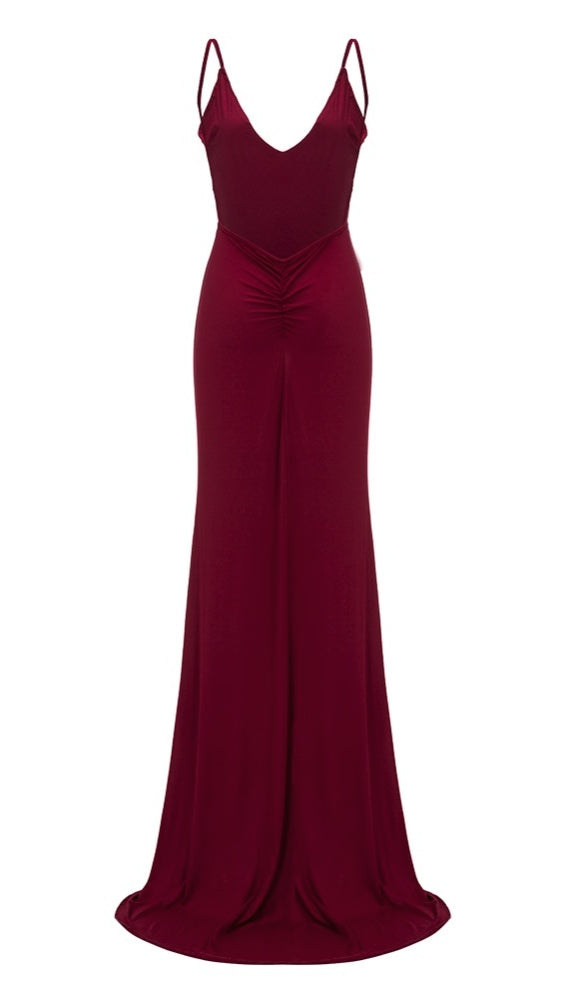 The Nevaeh Deep V Open Back Mermaid Gown Cherry Red Dress