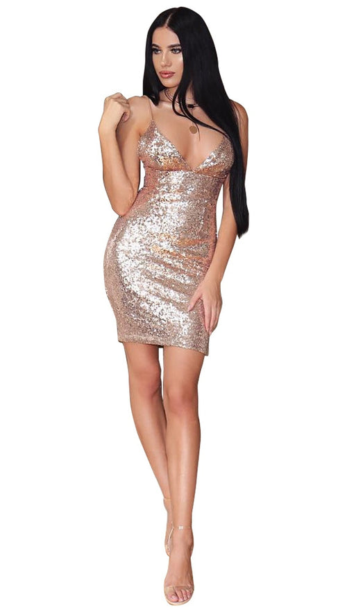 The Stacey Gold Sequin Mini Dress Champagne Sparkle Glitter