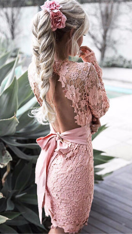 Delilah Open Back Floral Crochet Lace Dress Pink