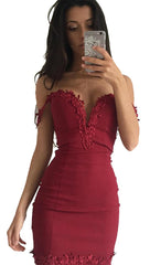 Emanuela Off The Shoulder Floral Lace Trim Bodycon Mini Rouge Red