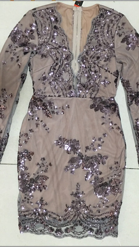 The Dawn Sexy Drop V Neck Long Sleeve Sequin Mini Dress Lavender