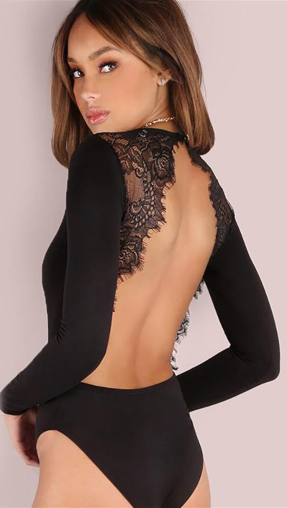 Tracy Open Back Long Sleeve Lace Bodysuit Black Sexy Party Club ShopAA 05fdb4b5e