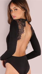 Tracy Open Back Long Sleeve Lace Bodysuit Black Sexy Party Club ShopAA