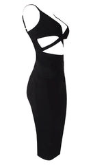 Naomi Sleeveless V Neck Mini Dress Black - Sexy Club Cut Out Sheath