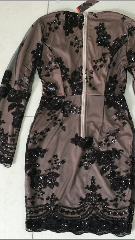 The Dawn Sexy Drop V Neck Long Sleeve Sequin Mini Dress Black Sheer