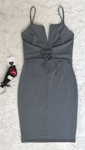 The Victoria Deep V Lace Up Corset Waist Belt Midi Boydcon Dress Grey