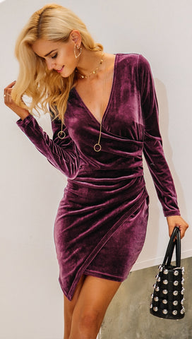 The Jaclyn Velvet Deep V Long Sleeve Bodycon Mini Holiday Dress Plum