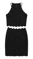The Sarah Pearl Bead Scallop Edge Fitted Mini Skirt Black ShopAA