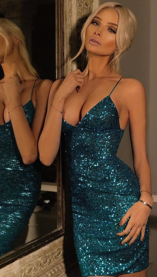 The Stacey Sequin Mini Holiday Sleeveless Dress Turquoise