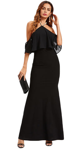 Natasha Pearl Halter Open Back Off Shoulder Layer Gown Dress Black