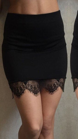 Black Or Red Lace Trim Skirt-Fitted lace pencil skirt-miniskirt-shopaa
