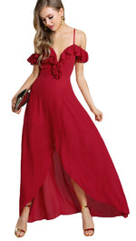 Gabriella Cold Open Shoulder Flutter Sleeve Ruffle Wrap Maxi Dress Red