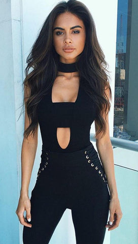 Cut Out Choker Neck Sexy Sleeveless Bodysuit in Black - ShopAA