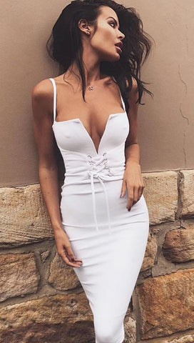 Victoria Deep V Lace Up Corset Waist Belt Midi Boydcon Dress White