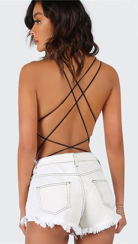 Chloe Strappy Open Back Bodysuit Black Thong Sexy ShopAA
