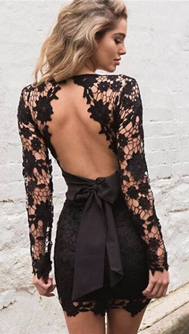Delilah Open Back Floral Crochet Lace Dress Black
