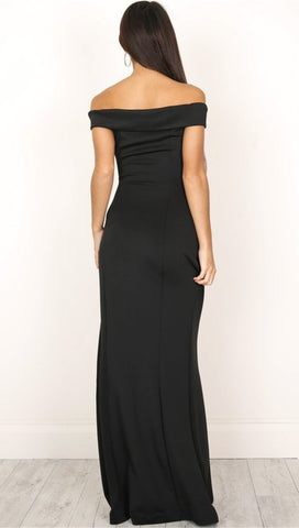 The Anastacia Off Shoulder Sweetheart Maxi Dress Gown Black High Slit