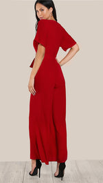 Justine Deep V Wide Leg Pant Sash Tie Belt Jumpsuit Cherry Red