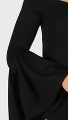Dawn Off Shoulder Flare Bell Long Sleeve Bodysuit Black Jessyka Robyn