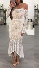 Antoinette Crochete Lace Off Shoulder Mermaid Dress White JessykaRobyn