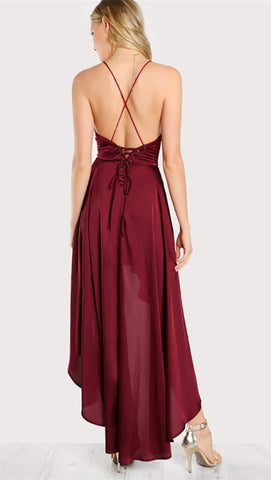 Bethenny Hi Low Satin V Neck Maxi Dress Rouge Red Open Back Lace Up