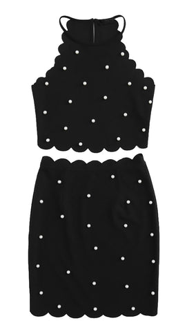 The Sarah Pearl Bead Scalloped Halter Crop Top Black ShopAA Skirt Set