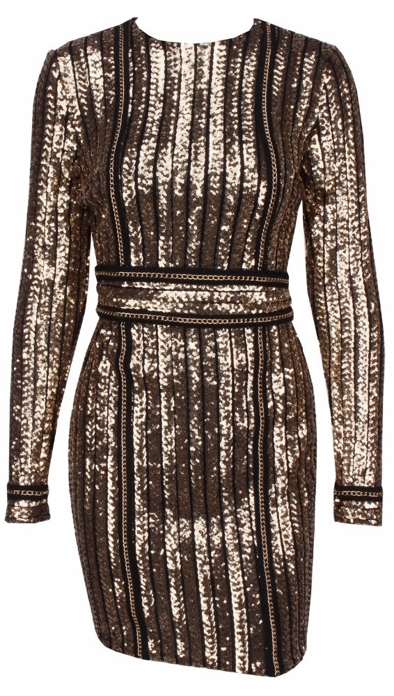 The Ivanka Long Sleeved Gold Sequin Mini Belted Dress Black