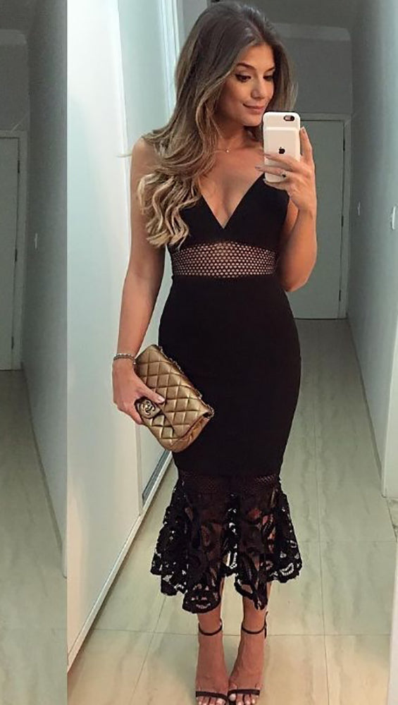 The Rebecca Mesh Lace Mermaid Tail Pencil Skirt Midi Dress Black
