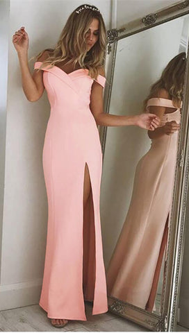 The Anastacia Off Shoulder Sweetheart Maxi Dress Gown Pink High Slit