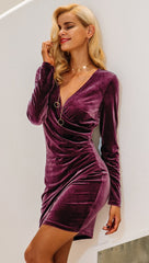 The Jaclyn Velvet Bodycon Mini Dress Plum