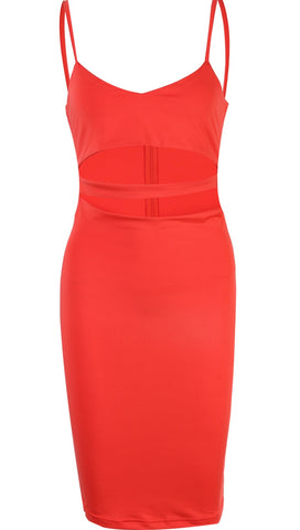 The Nina Cut Out Sleeveless Spaghetti Strap V Neck Bodycon Midi Party Dress Fire Orange