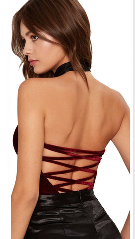 The Emma Deep V Strapless Sweetheart Bodysuit Red Velvet