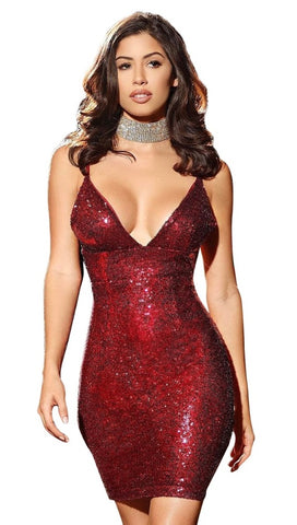 The Stacey Sequin Mini Dress Red Holiday