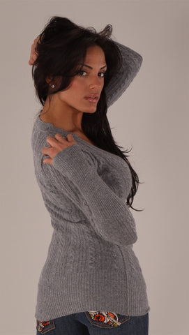 Vintage Havana Cable V-Neck Sweater Grey