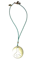 ShopAA Jewelry Brushed Gold Metal Peace Sign Charm Teal Bead Necklace