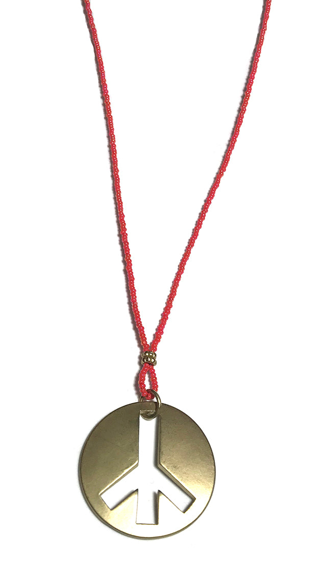 ShopAA Jewelry Brushed Gold Metal Peace Sign Charm Red Bead Necklace