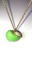 ShopAA Jewelry Green Apple Rhinestone Leaf Charm Gold Necklace