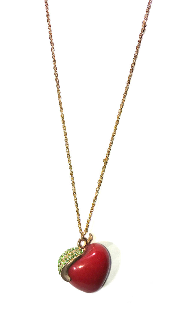ShopAA Jewelry Red Apple Rhinestone Leaf Charm Gold Necklace