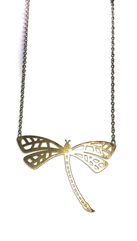 ShopAA Jewelry Make a Wish Gold Metal Plate Cutout Dragonfly Charm Necklace