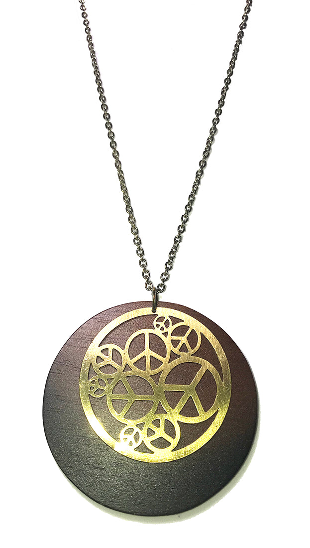 ShopAA Make A Wish Cutout Peace Signs Wood Circle Necklace Jewelry