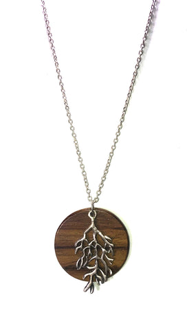 Make a Wish Tree Branch on Wood Plate Charm Necklace