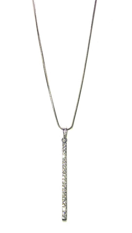 ShopAA Diamond Rectangle Drop Pendant Silver Necklace
