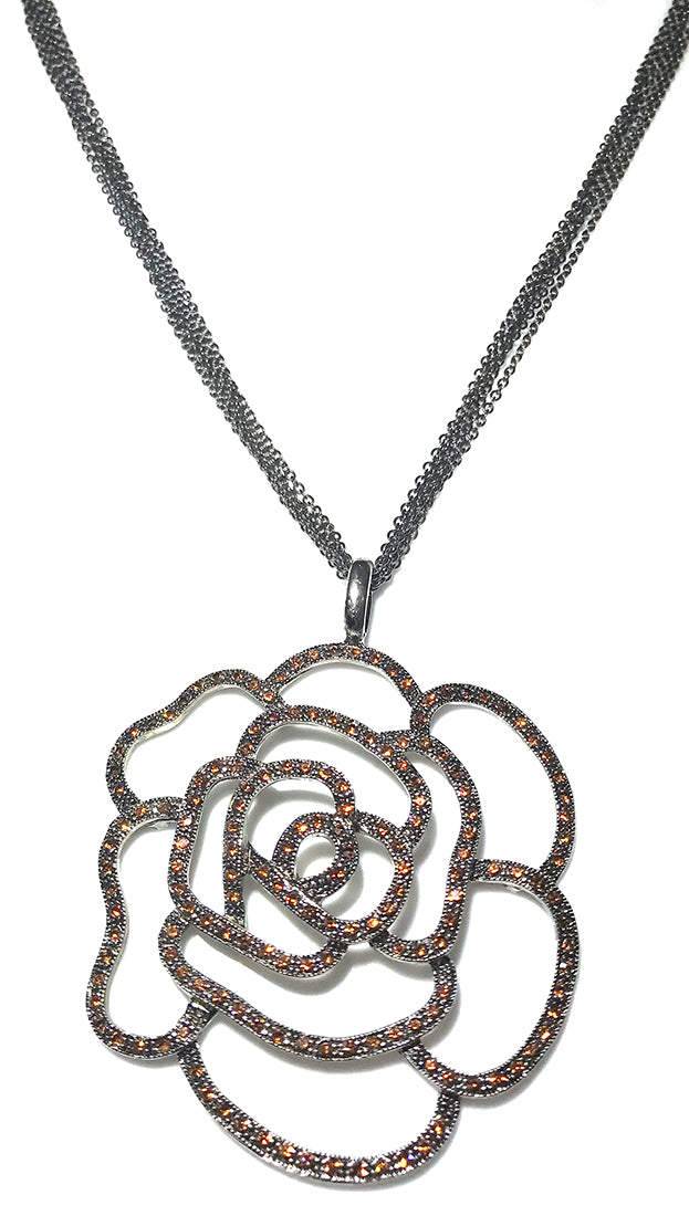 ShopAA Jewelry Brown Rhinestone Rose Flower Cutout Necklace
