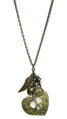 ShopAA Jewelry Peace & Love Heart Cupid Charm Necklace Antique Gold