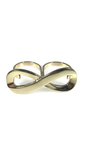 Two Finger Infinity Symbol Ring in Gold or Silver