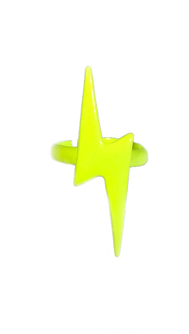 Neon Lightning Bolt Ring in Yellow