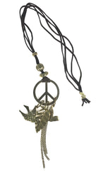 ShopAA Peace Sign Dove Feather Chain Link Charm Necklace …